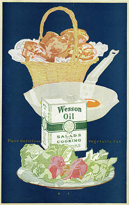Salad Oil Drawing - Wesson Oil For Salads And  Cooking - by Mary Evans Picture Library