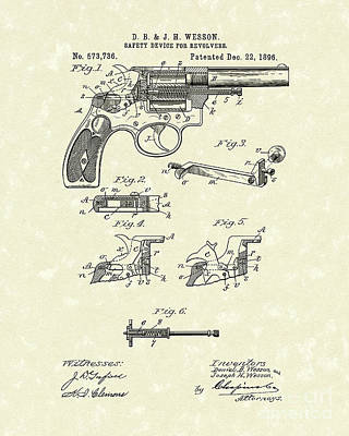 Drawing - Wesson Revolver 1896 Patent Art by Prior Art Design