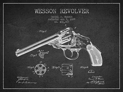 Wesson Revolver Patent Drawing From 1889 - Dark Art Print by Aged Pixel