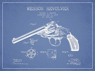 Wesson Revolver Patent Drawing From 1889 - Light Blue Art Print by Aged Pixel