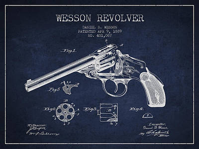 Wesson Revolver Patent Drawing From 1889 - Navy Blue Art Print by Aged Pixel