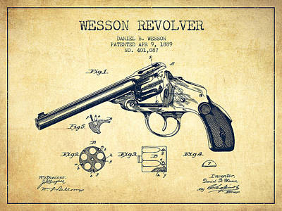 Wesson Revolver Patent Drawing From 1889 - Vintage Art Print by Aged Pixel