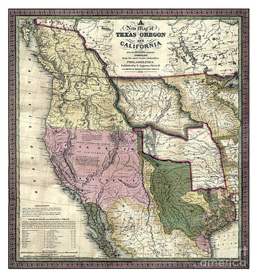 Cartography Painting - West - United States - 1846 by Pablo Romero