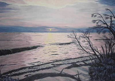 Art Print featuring the painting West Coast Sunset by Hilda and Jose Garrancho