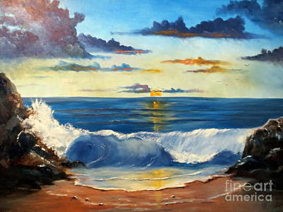 Art Print featuring the painting West Coast Sunset by Lee Piper