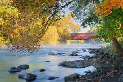 Art Print featuring the photograph West Cornwall Covered Bridge Autumn by Bill Wakeley