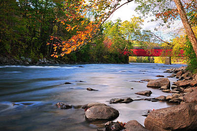 Nature Scene Photograph - West Cornwall Covered Bridge- Autumn  by Thomas Schoeller