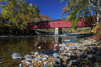 Park Benches Photograph - West Cornwall Covered Bridge by Panoramic Images