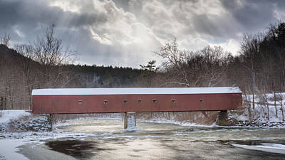 Photograph - West Cornwall Covered Bridge Winter by Bill Wakeley