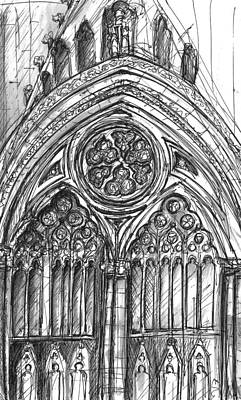Entrance Door Drawing - West Front York Minster by Yvonne Lynn