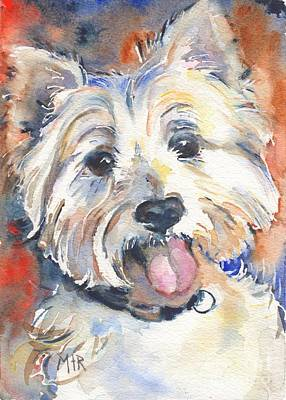 Watercolor Pet Portraits Painting - West Highland Terrier by Maria's Watercolor