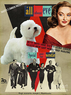 Painting - West Highland White Terrier Art Canvas Print - All About Eve Movie Poster by Sandra Sij