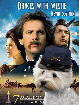 Painting - West Highland White Terrier Art Canvas Print - Dances With Wolves Movie Poster by Sandra Sij