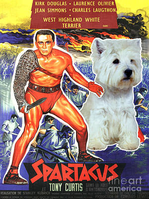 Painting - West Highland White Terrier Art Canvas Print - Spartacus Movie Poster by Sandra Sij