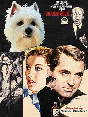 Painting - West Highland White Terrier Art Canvas Print - Suspicion Movie Poster by Sandra Sij