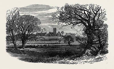Newton Drawing - West Newton From The Deer Park Sandringham 1871 by English School