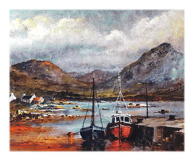 Mixed Media - Galway  Ballinakill Harbour And The Diamond Hill by Val Byrne
