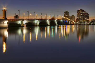 Citiscapes Photograph - West Palm Beach At Night by Debra and Dave Vanderlaan