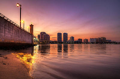 Citiscapes Photograph - West Palm Beach Skyline At Dusk by Debra and Dave Vanderlaan