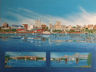 West Peoria Between Two Bridges Original by Joni Waybright