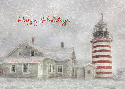 West Quoddy Head Lighthouse Photograph - West Quoddy Christmas by Lori Deiter