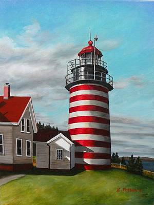 West Quoddy Head Lighthouse Art Print by Eileen Patten Oliver