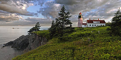 Down East Maine Photograph - West Quoddy Head Lighthouse Panorama by Marty Saccone