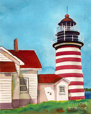 Painting - West Quoddy Light House by Nan Wright