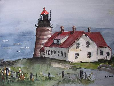 Painting - West Quoddy Light by Stephanie Sodel