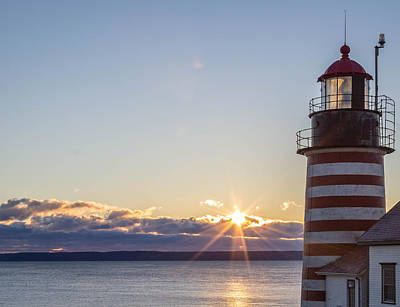 Art Print featuring the photograph West Quoddy Lighthouse Sunrise by Trace Kittrell