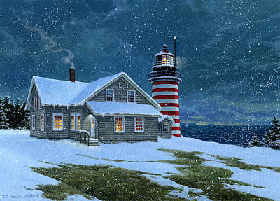 Painting - West Quoddy Lighthouse by Tom Wooldridge