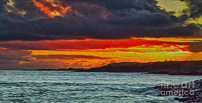 Digital Art - West Side Kauai sunset by Charles Davis