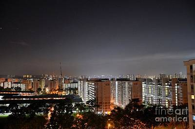 Photograph - West Singapore Buildings Night Skyline by Imran Ahmed