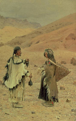 Yak Photograph - West Tibetans, 1875 Oil On Canvas by Piotr Petrovitch Weretshchagin