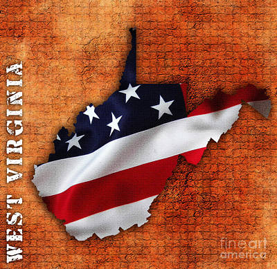 American Flag Mixed Media - West Virginia American Flag State Map by Marvin Blaine