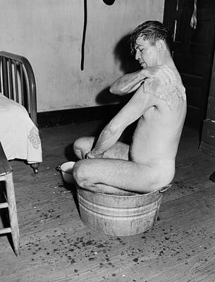 Antique Nudes Photograph - West Virginia Coal Miner Taking A Bath 1946 by Mountain Dreams