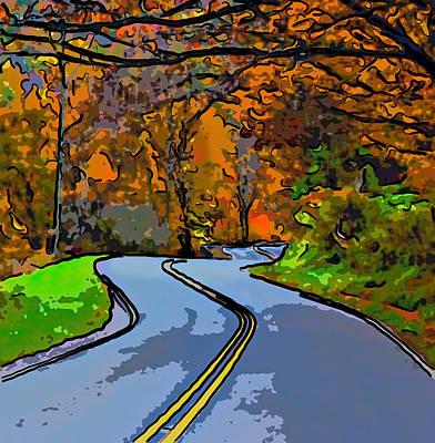 West Virginia Curves 2 Line Art Art Print by Steve Harrington