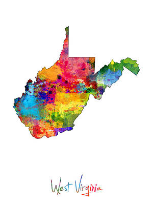 West Virginia Digital Art - West Virginia Map by Michael Tompsett