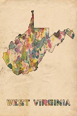 Painting - West Virginia Map Vintage Watercolor by Florian Rodarte