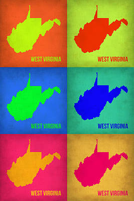 Pop Art Painting - West Virginia Pop Art Map 1 by Naxart Studio