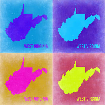 West Virginia Painting - West Virginia Pop Art Map 2 by Naxart Studio