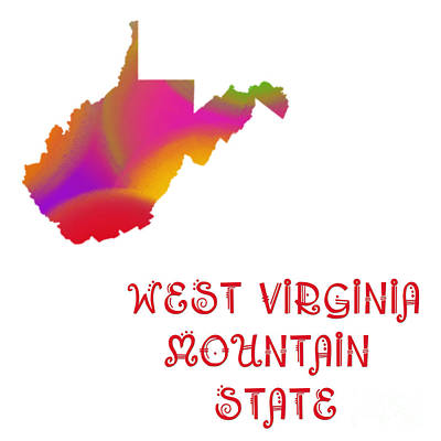West Virginia State Map Collection 2 Art Print by Andee Design