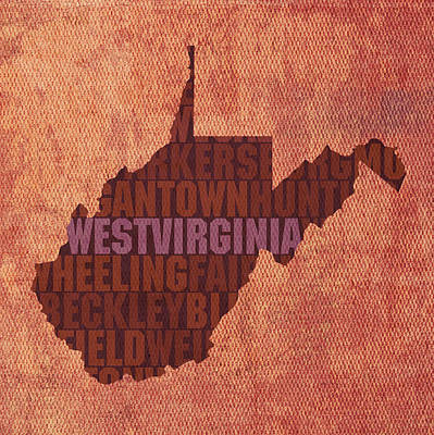 Wall Art - Mixed Media - West Virginia State Word Art On Canvas by Design Turnpike