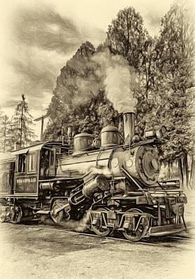 West Virginia Steam Engine - Paint Sepia Art Print by Steve Harrington