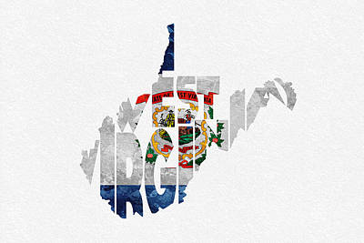 Digital Art - West Virginia Typographic Map Flag by Inspirowl Design
