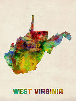 West Virginia Digital Art - West Virginia Watercolor Map by Michael Tompsett