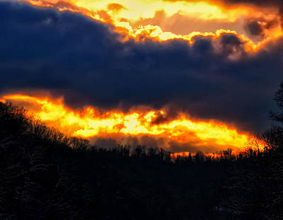 West Virginia Winter Sunset Art Print by Chris Flees