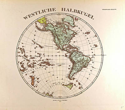 Westen Hemispheregotha Justus Perthes 1872 Atlas Art Print by English School