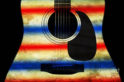 Sound Digital Art - Western Abstract Guitar 1 by Andee Design