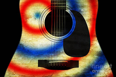 Sound Digital Art - Western Abstract Guitar 2 by Andee Design